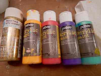 Pebeo acrylic and Martha Stewart glitter paint